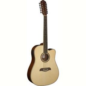 Oscar Schmidt OD312CE 12-String Cutaway Acoustic Electric Guitar, Natural
