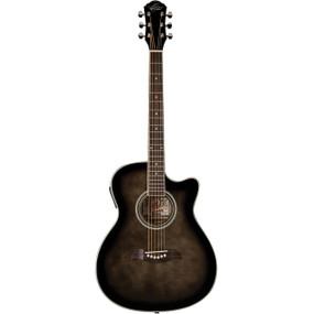 Oscar Schmidt OACEFTB Auditorium Acoustic Electric Guitar w/ Flame Maple Top, Trans Black