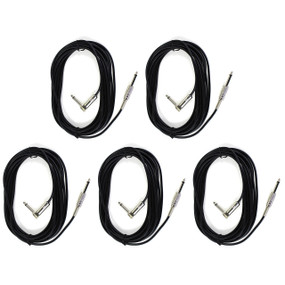 ZoZo 20ft Guitar Cable 5 PACK - 20ft Guitar, Bass, Instrument Cable, ZZ203-5PK
