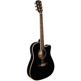 Indiana I-TB2BK Thin Body Acoustic Electric Guitar, Black