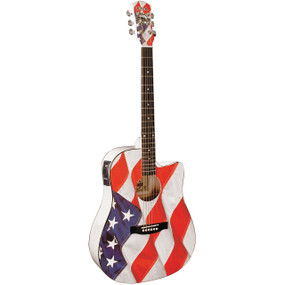 Indiana USA-1CE USA Flag Acoustic Electric Guitar - Freedom & Liberty American US Flag