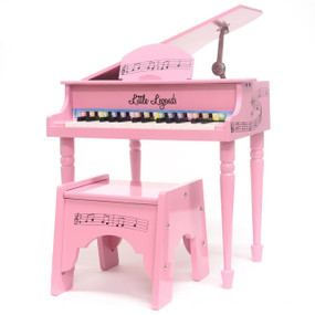 Little Legends LLBGD304P 4 Leg Baby Grand 30-Key Toy Piano w/ Bench, Pink