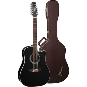 Takamine EF381SC 12-String Dreadnought Acoustic Electric Guitar w/ Case, Black