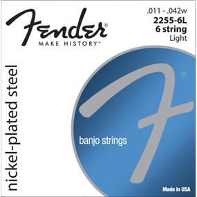 Fender 2255-6L Nickel-Plated Steel Loop-End 6-String Banjo Strings, 073-2255-406