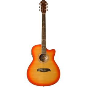 Oscar Schmidt OACEFCS Auditorium Acoustic Electric Guitar, Flame Cherry Sunburst
