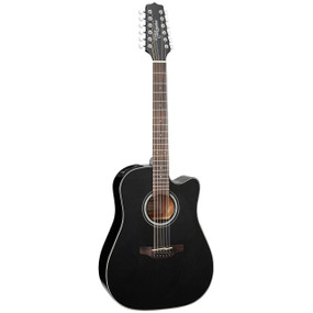Takamine GD30CE-12BLK Solid Top Dreadnought 12-String Acoustic Electric Guitar, Black
