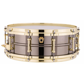 """Ludwig LB416BT Black Beauty 5""""x 14"""" Snare Drum with Brass Trim"""