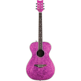 Daisy Rock Pixie Sparkle Beginner Acoustic Guitar, Pink Sparkle