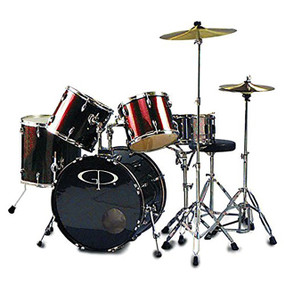 GP Percussion GP200 Performer Full Size 5-Piece Drum Set, Wine Red