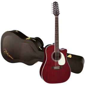 Takamine JJ325SRC-12 John Jorgenson Signature 12-String Acoustic Electric Guitar, Gloss Red Stain