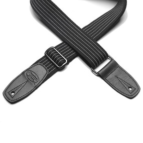 Reunion Blues RBS-28PS Merino Wool Guitar Strap, Black Pinstripe