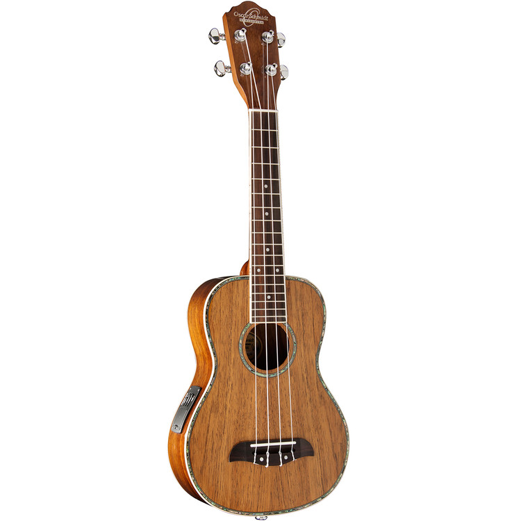 Oscar Schmidt OU5E Hawaiian Koa Acoustic Electric Concert Ukulele, Natural
