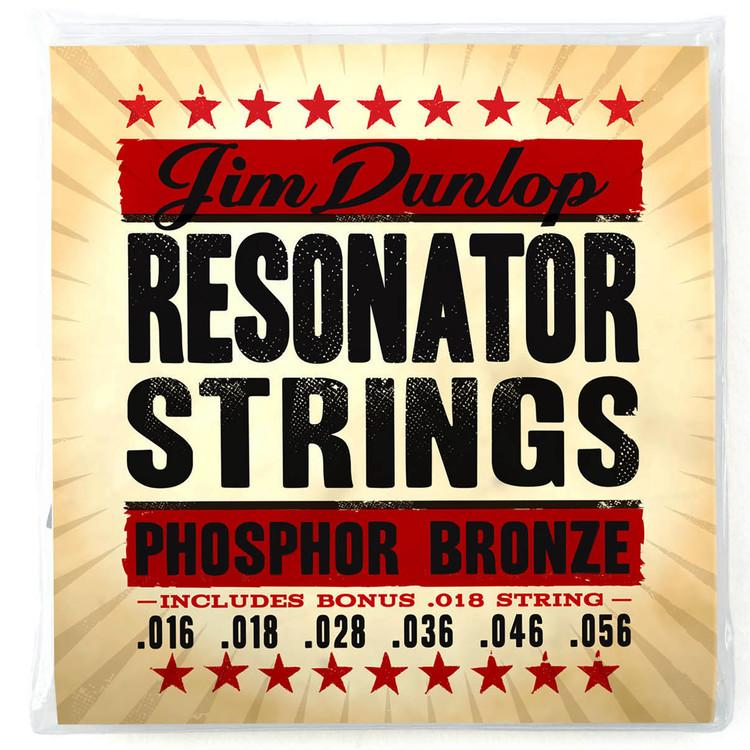 Dunlop DOP1656 Phosphor Bronze Resonator Strings, 6-String Set w/ Bonus String
