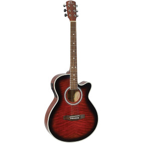 "Eleca DAG-8CEQ-RDS 39"" Parlor Acoustic Electric Guitar, Quilt Red Burst"