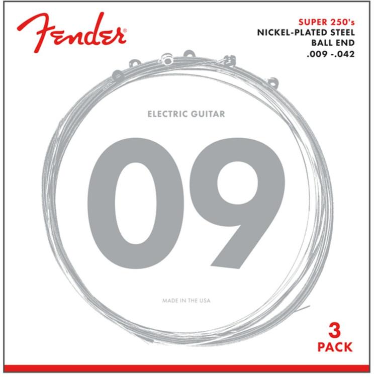 Fender 250L Super 250's Nickel-Plated Steel Electric Guitar Strings, Light- 3 Pack