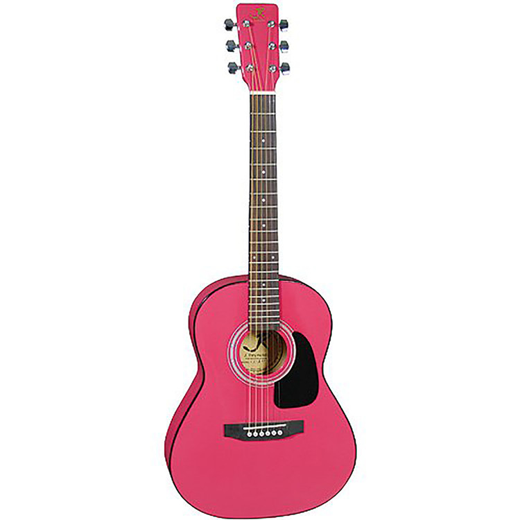 """J Reynolds JR14 36"""" Inch Small Body Dreadnought Acoustic Guitar, Pink"""