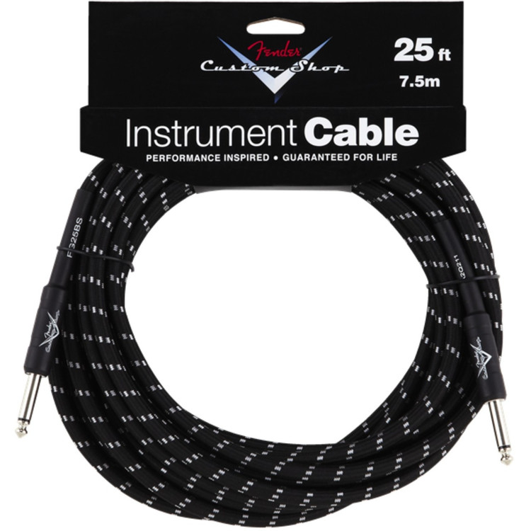 Fender FG25BS Custom Shop 25' Black Tweed Instrument Cable, 099-0820-039