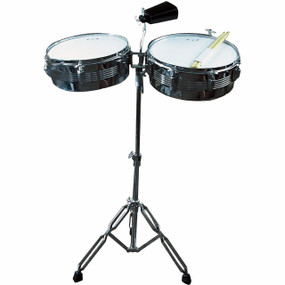 """GP Percussion LT156 Complete 13"""" & 14"""" Timbales Set w/Stand and Bell (LT156)"""