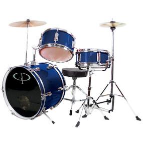 GP Percussion GP50 Complete 3-Piece Junior Child Size Drum Set, Metallic Blue