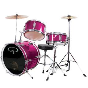 GP Percussion GP50 Complete 3-Piece Junior Child Size Drum Set, Pink