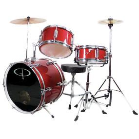 GP Percussion GP50 Complete 3-Piece Junior Child Size Drum Set, Metallic Red