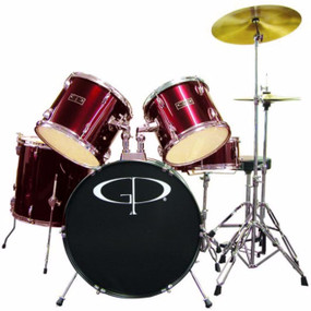 GP Percussion GP100 Player Complete Full Size 5-Piece Drum Set, Wine Red (GP100WR)