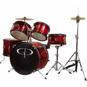 GP Percussion GP55 Complete 5-Piece Junior Child Size Drum Set, Metallic Red (GP55RD)