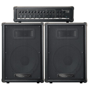 Powerwerks PW100 Complete PA System - PW100H Powered Mixer & Two 50-Watt Speakers