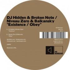 """DJ Hidden & Broken Note/Niveau Zero & Balkansky - Existence/Obey - 12"""" Vinyl"""