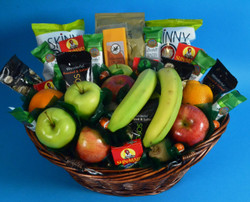 A variety of our Market Fruit Basket with snacks