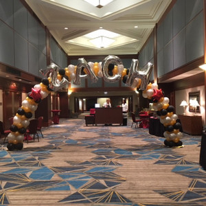 Customized arches for all occasions.  Here's a Bar Mitzvah arch in a hotel lobby.