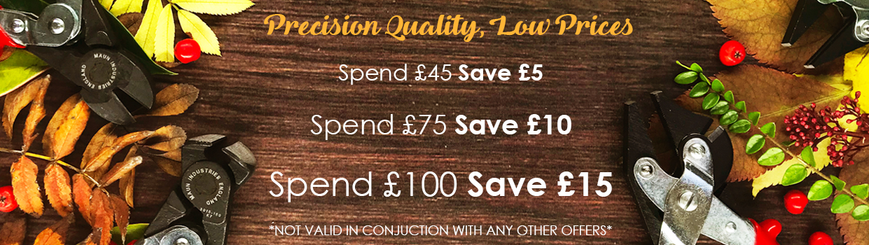 Save £5 when you spend £45, Save £10 when you spend £75 and Save £15 when you spend £100