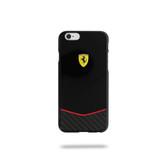 Ferrari Scuderia Gossy Carbon Fiber Bottom Hard Case for iPhone 6 Plus / 6s Plus - Black