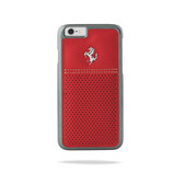 Ferrari Scuderia Berlinetta Perforated Leather Hard Case for iPhone 6 Plus / 6s Plus - Red w/ Beige Stitching