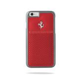 Ferrari Scuderia Berlinetta Perforated Leather Hard Case for iPhone 6 Plus / 6s Plus - Red w/ Beige Stitching