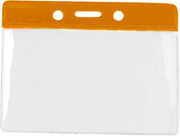 1820-1005 Orange Horizontal Vinyl Color-bar Badge Holder - Data/credit Card Size - Qty. 100