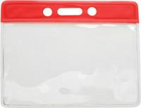 1820-1006 Red Horizontal Vinyl Color-bar Badge Holder - Data/credit Card Size - Qt. 100