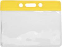 1820-1009 Yellow Color-Bar Vinyl Badge Holder - Horizontal Top Load - Qty. 100