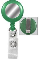 2120-3104 Green Badge Reel W/ Silver Sticker, Reinforced Vinyl Strap & Belt Clip - Qty. 100