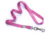 "2138-5288 Pink Ribbon 3/8"" Lanyard W/ Swivel Hook - Qty. 100"
