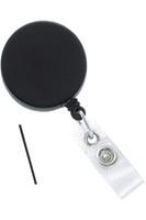 2120-3305 Heavy-Duty Black /Chrome Badge Reel w/Metal Wire Reinforced Vinyl Strap & Belt Clip - Qty. 100