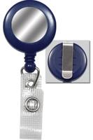 2120-3102 Blue Badge Reel W/ Silver Sticker, Reinforced Vinyl Strap & Belt Clip. - Qty. 100