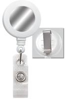 2120-3108 White Badge Reel W/ Silver Sticker, Reinforced Vinyl Strap & Belt Clip - Qty. 100