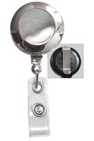 2120-3030 Chrome (plastic) Badge Reel W/ Clear Vinyl Strap & Belt Clip - Qty. 100