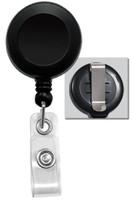 2120-3031 Black Badge Reel W/ Clear Vinyl Strap & Belt Clip - Qty. 100