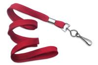 "2135-3506 Red 3/8"" Flat Braid Woven Lanyard W/ Nickel-plated Steel Swivel Hook - Qty. 100"