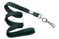"""2135-3514 Forest Green 3/8"""" Flat Braid Woven Lanyard W/ Nickel-plated Steel Swivel Hook - Qty. 100"""