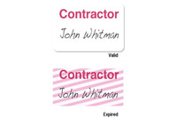 "02005 ONEstep Self-expiring TIMEbadge Adhesive ""CONTRACTOR"" One Day Expiration- Manually Issued.- Pkg of 500"