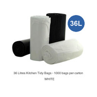 Kitchen Tidy Bags 36 Litres White 1000 Bags 20 rolls of 50 bags
