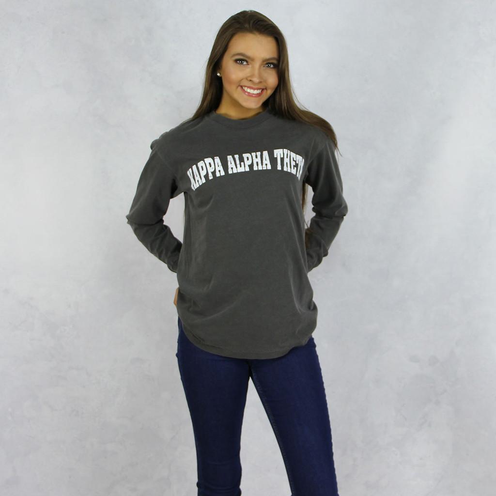 Kappa Alpha Theta Comfort Colors Long Sleeve T-Shirt in Dark Gray